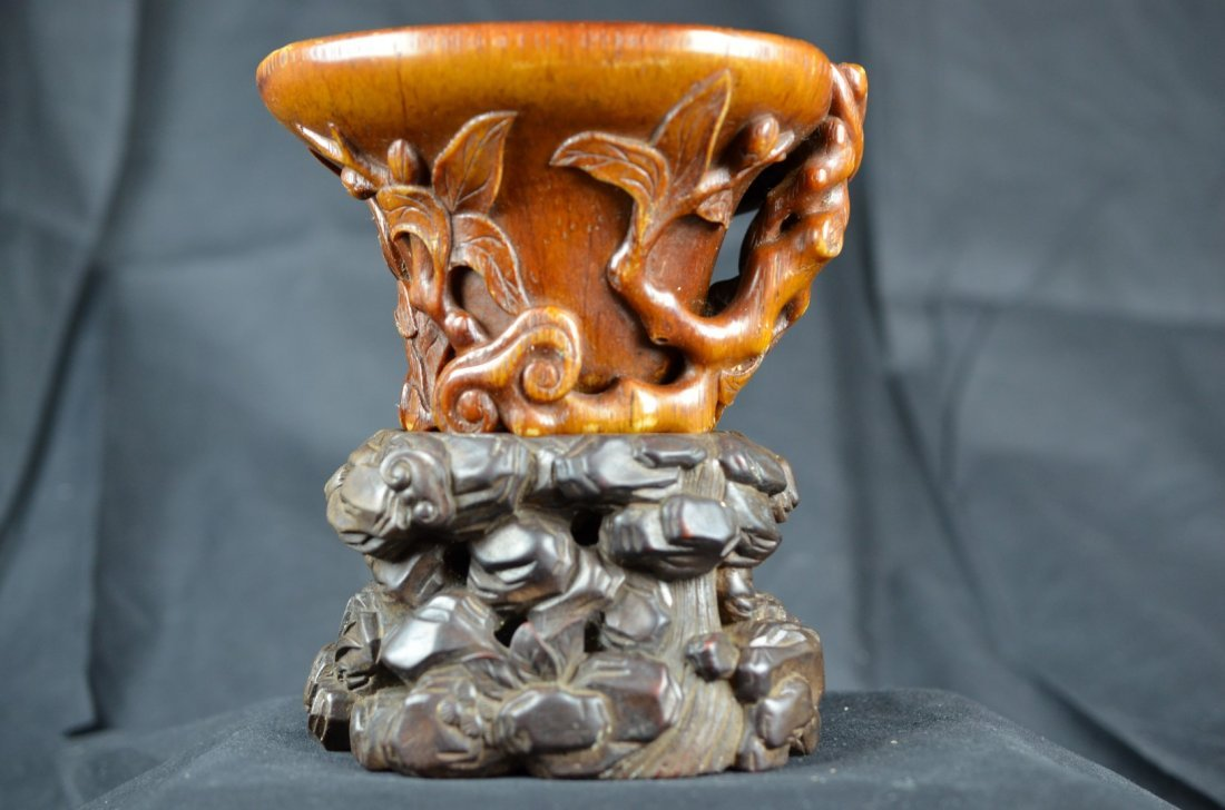 A Rare  Chinese Rhinoceros horn Libation Cup
