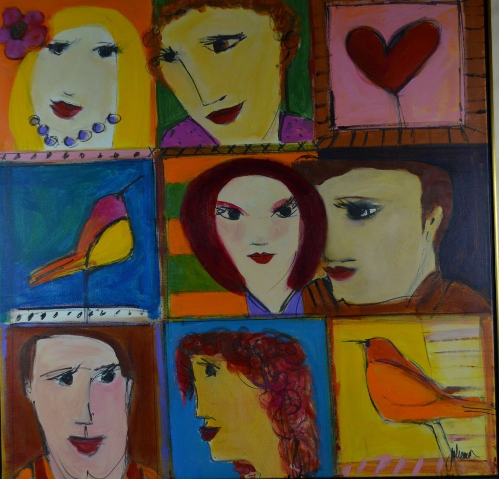 """Herson Youlhon """"Three Couples"""" Acrylic on Canvas"""