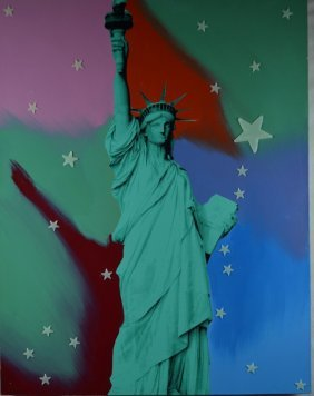 "Steve Kaufman ""Statue Of Liberty"" Mixed Media On Canvas"