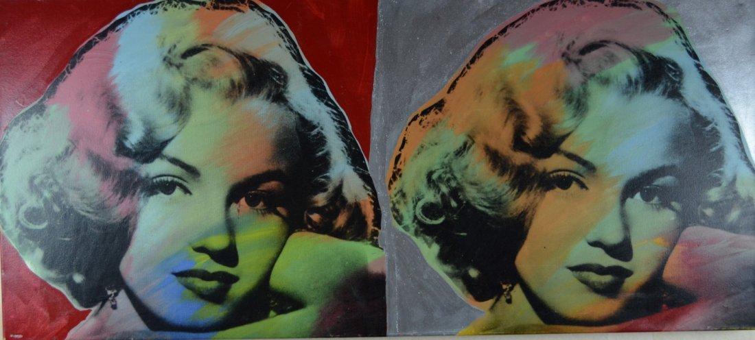 """Steve Kaufman """"Double Marilyn Monroe Red & Silver """""""