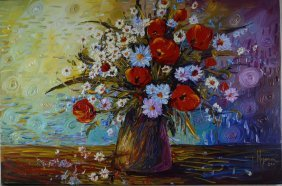 "Paula Nizamas ""Flower Bouquet"" Oil Painting On Canvas"