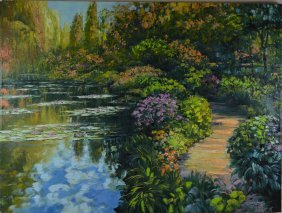 "Howard Behrans ""Giverny Path"" Giclee On Canvas"