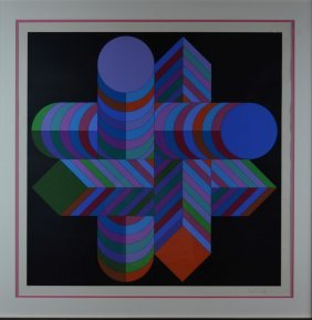 "Victor Vaserly, ""Quatrollotte"", Screenprint. Signed."