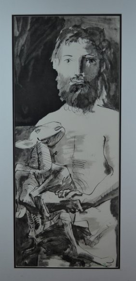 "Pablo Picasso, ""Young Man And Goat"", Signed Lithograph"