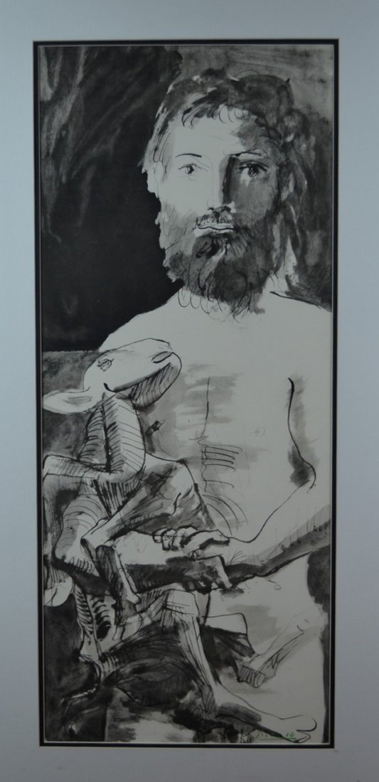 """Pablo Picasso, """"Young man and Goat"""", Signed Lithograph"""