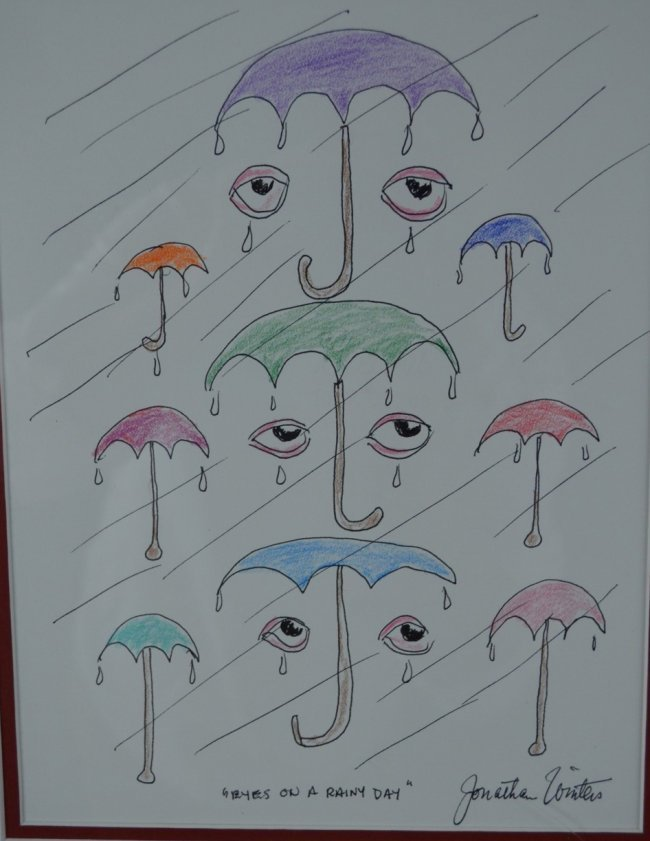 """Jonathan Winters, """"Eyes on a Rainy Day"""", Ink & Pencil"""