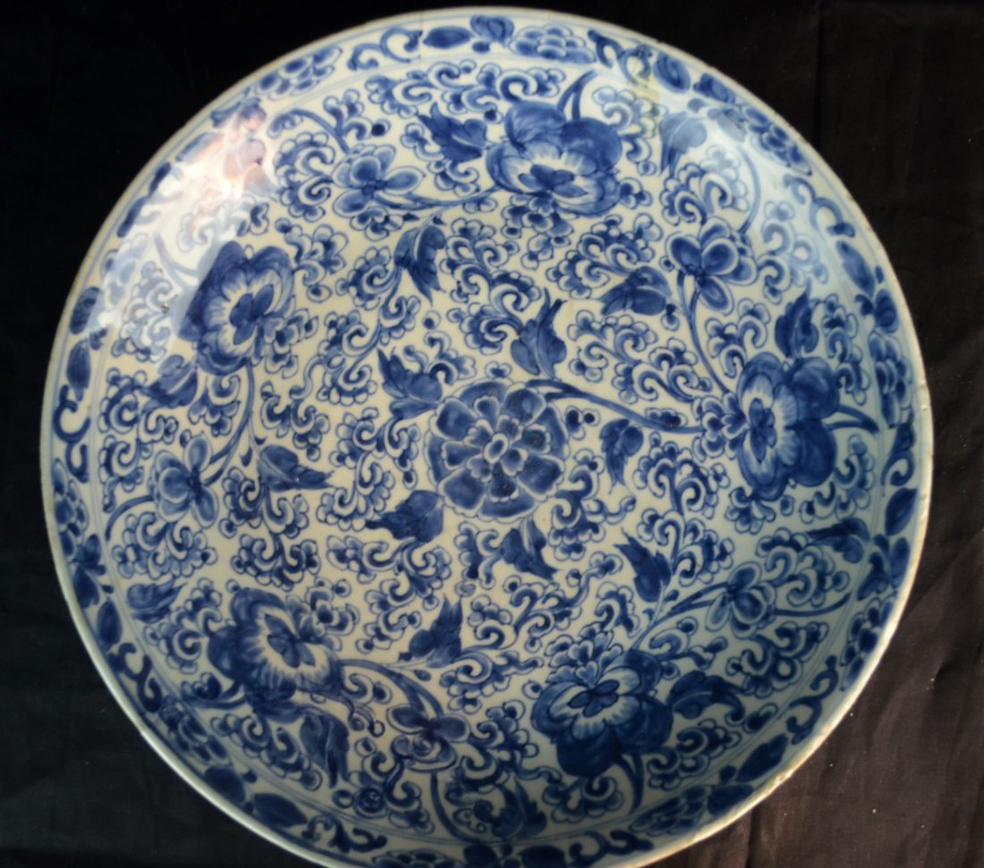 A Large Chinese Qing  Dynasty Blue and White Plate