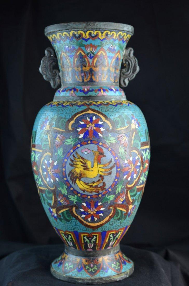 Chinese Cloisonne Enameled Two-Handled Vase or Urn