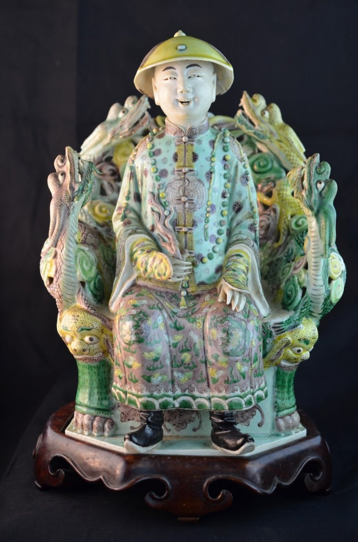 A Fine Chinese Figure of Royal Highness with Wood Stand