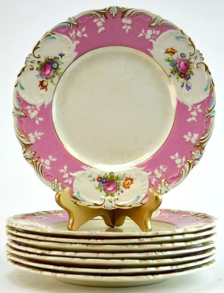 8 George Jones Pink Floral Plates