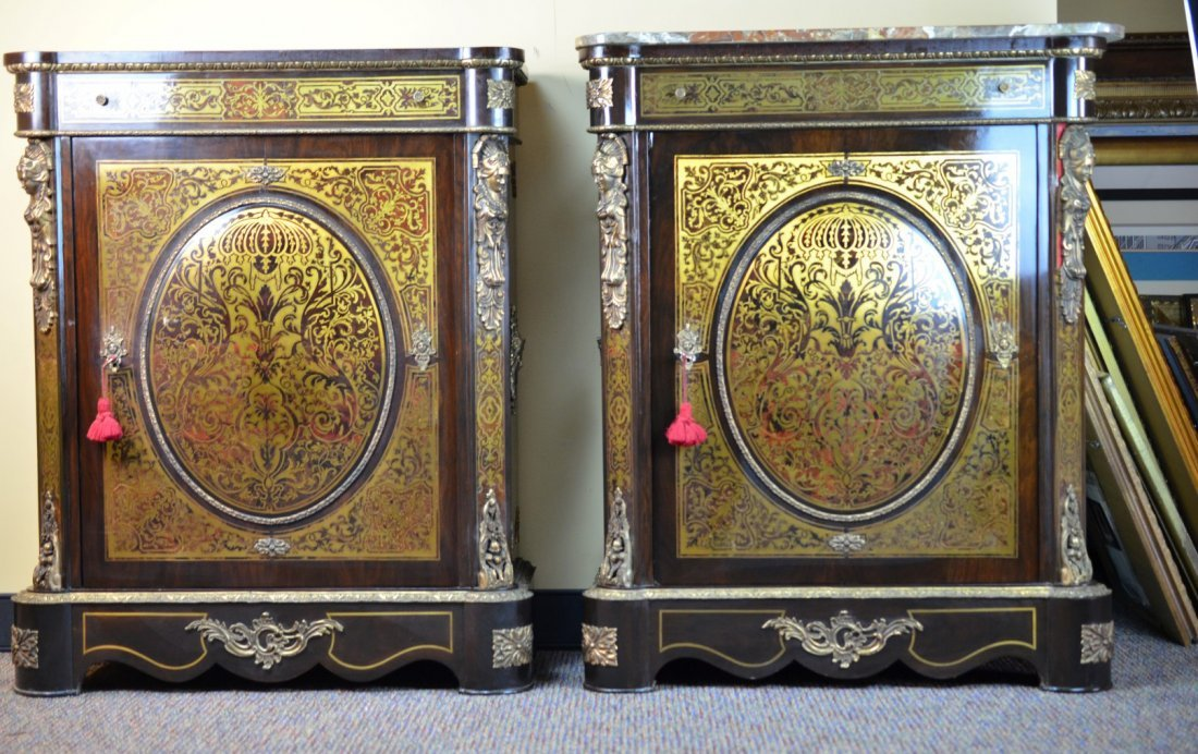Pair of Antique Marble-Top Cabinets