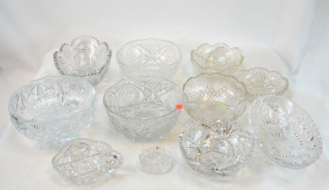 10 Cut Glass / Crystal Bowls