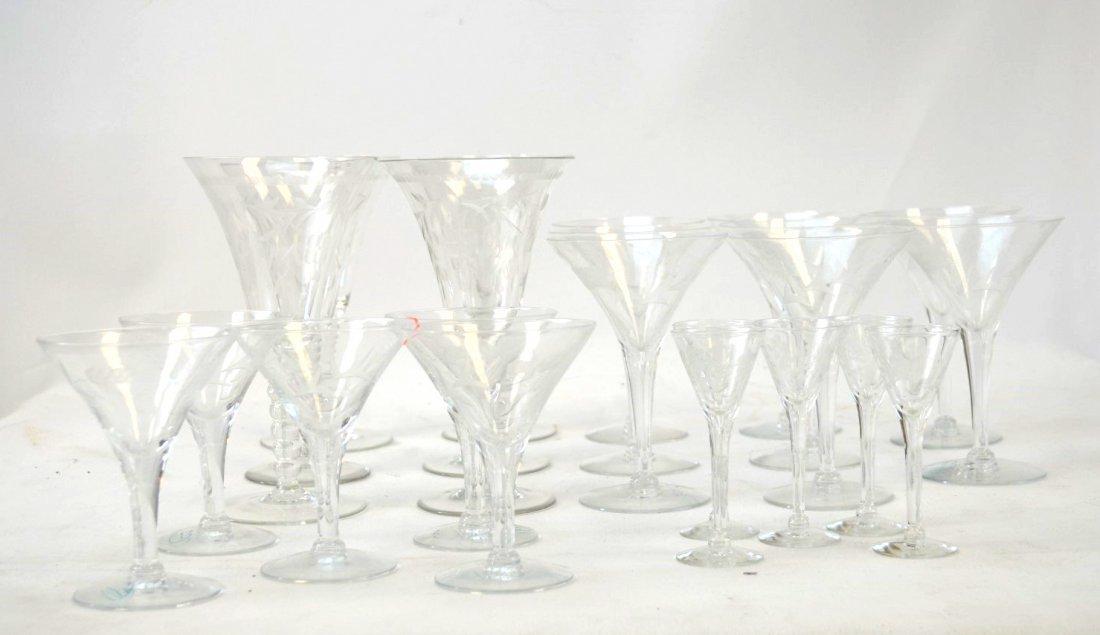 23-pcs Assorted Etched Vintage Glassware / Barware