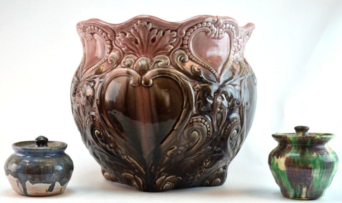 American Majolica (Ohio) Jardiniere & Two Pots