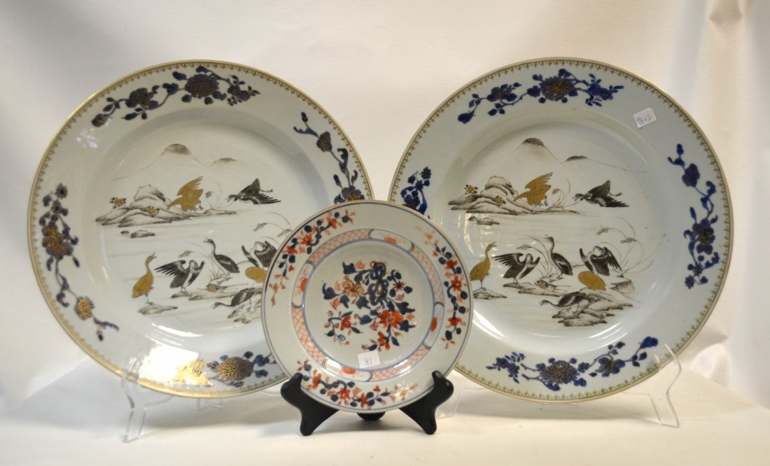 Rare Large Pair of Chinese Porcelain Chargers
