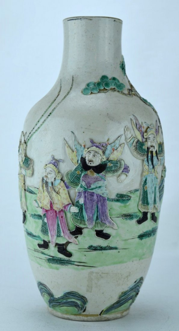 CHINESE PORCELAIN Vase carved & painted with warriors