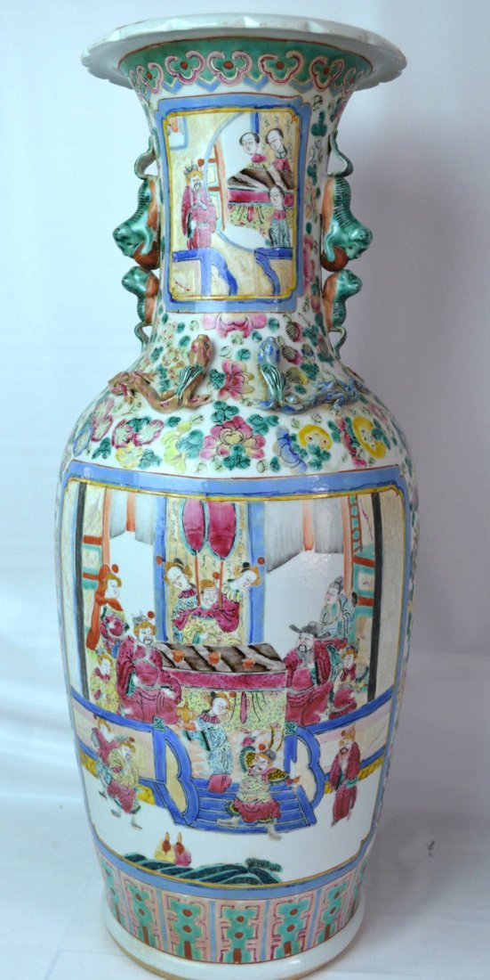 19TH C Chinese  Famille Medallion Rouleau vase
