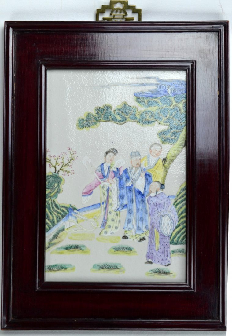 19th C CHINESE Famille Rose  Rectangular plaque