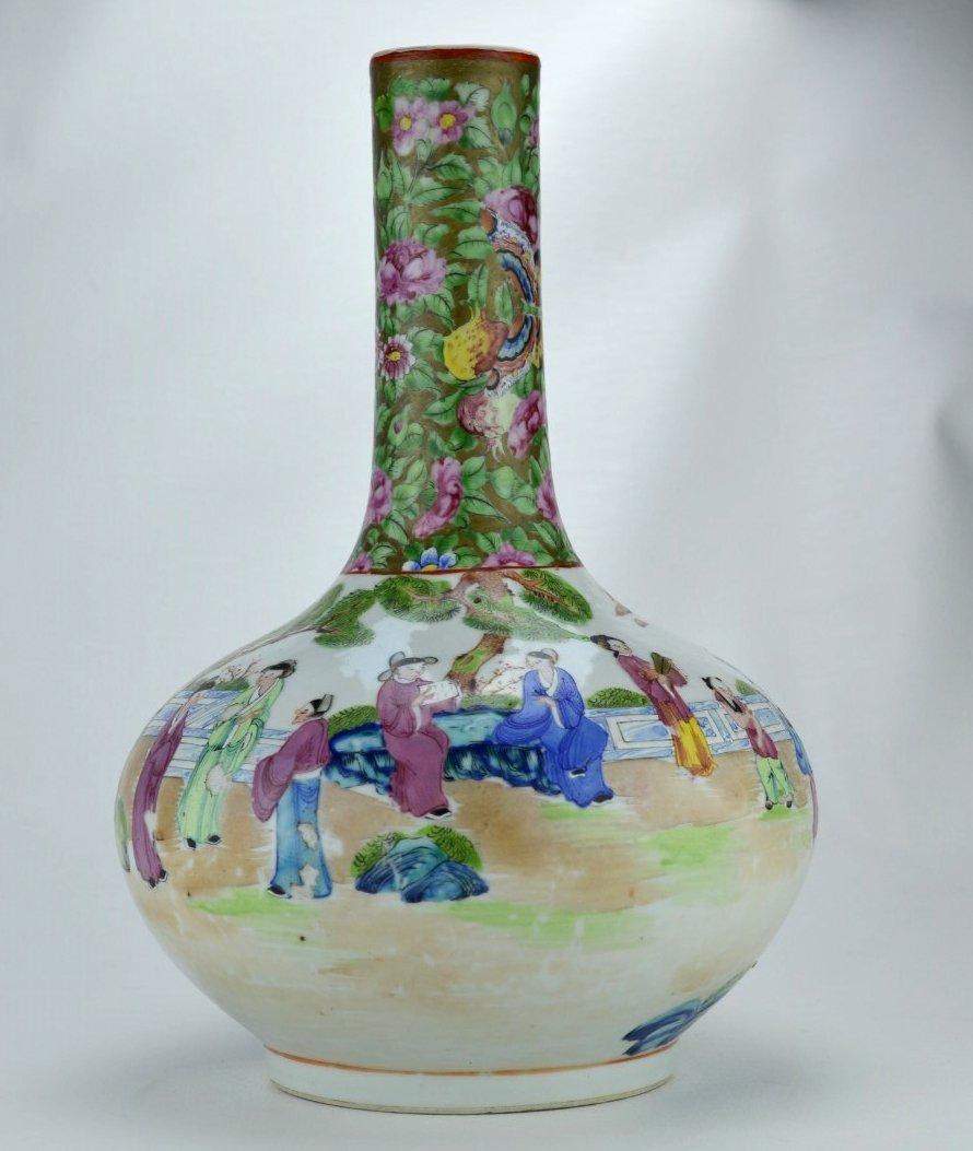19TH C CHINESE  Famille Medallion  bottle-shaped vase