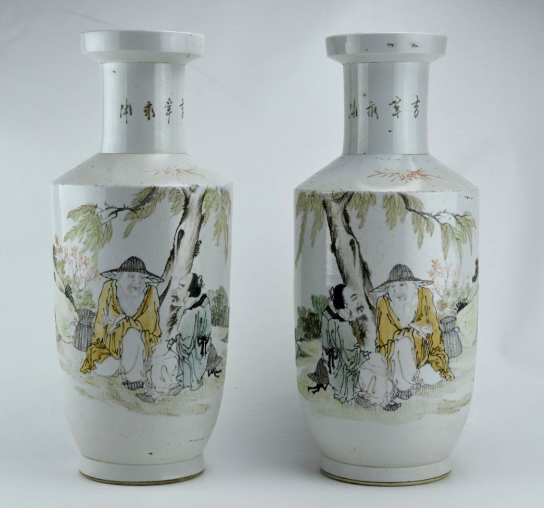 19/20th C Large Pair of  Chinese  Rouleau vases