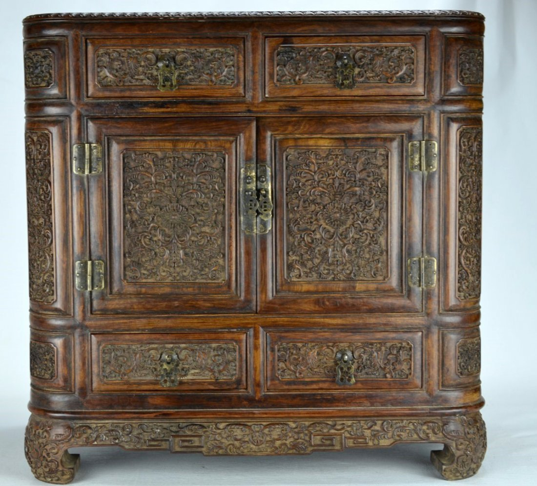 18/19th C Finely Carved Chinese Huanghuali Chest