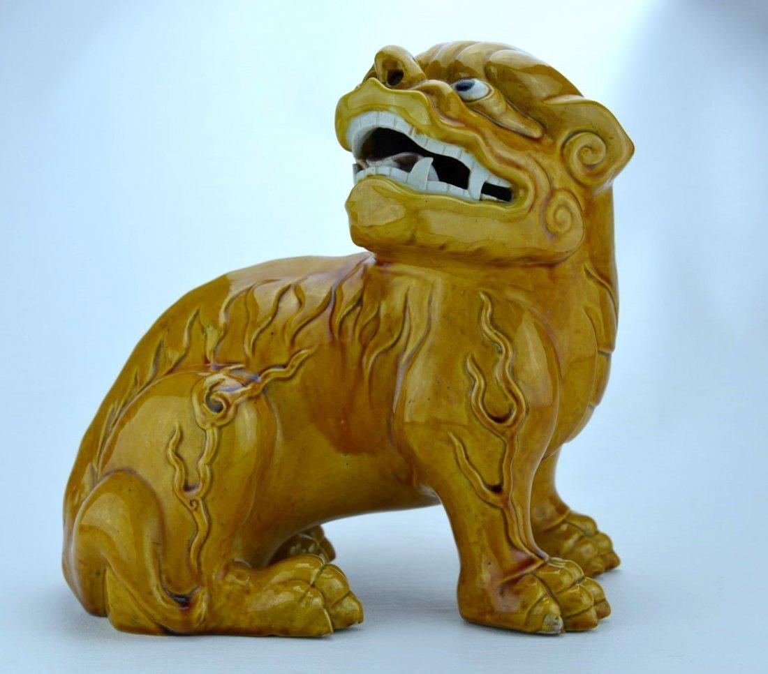 18/19th C Large Chinese Yellow Ground Glazed Foo Dog
