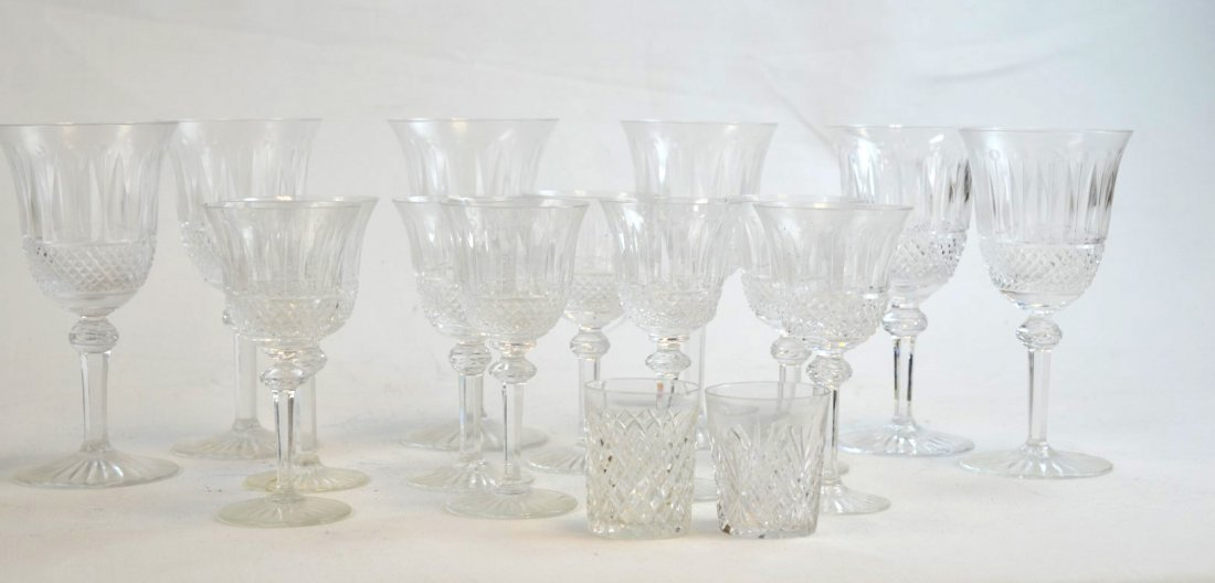 16 Cut Crystal Wine & Cordial Glasses