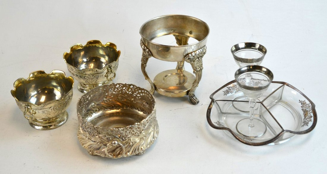 7 Pcs including Silverplate & Glass