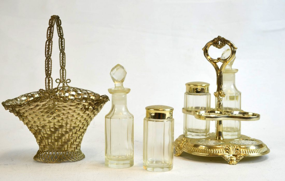 Glass and Silverplate Shaker, Oil & Vinegar Set
