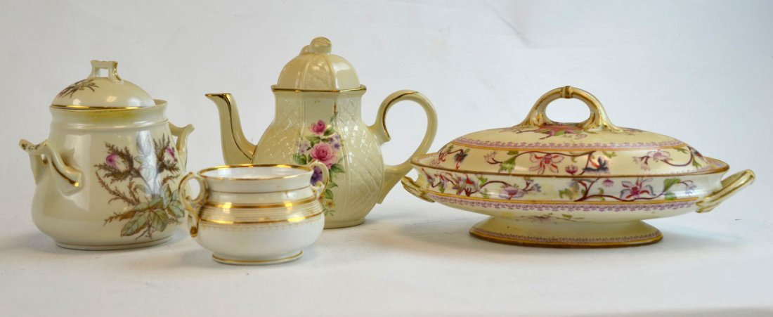 4 Porcelain Pieces including Arthur Woods Teapot