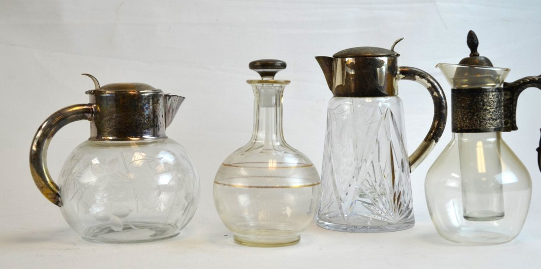 Four Glass Pcs; Etched Pitchers & Bottle
