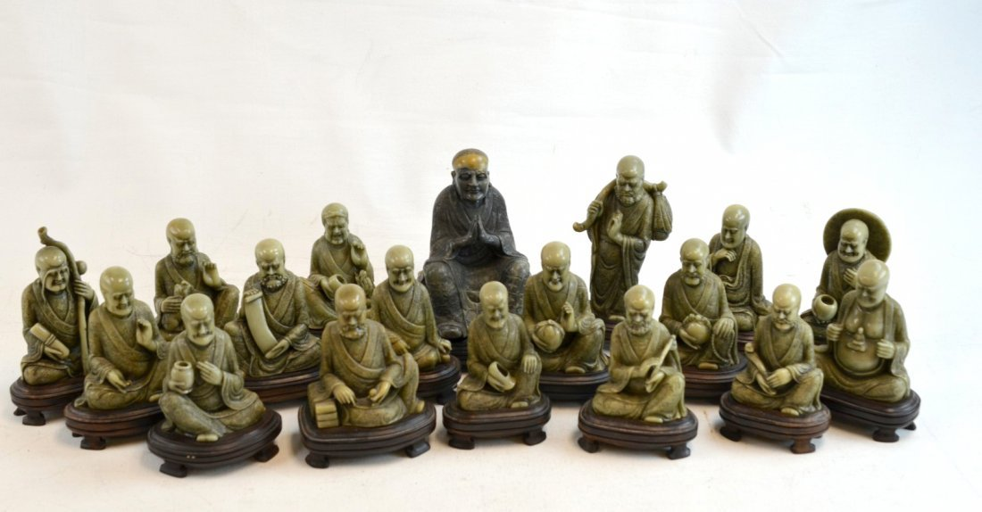 Eighteen finely carved Lohan figures in soapstone