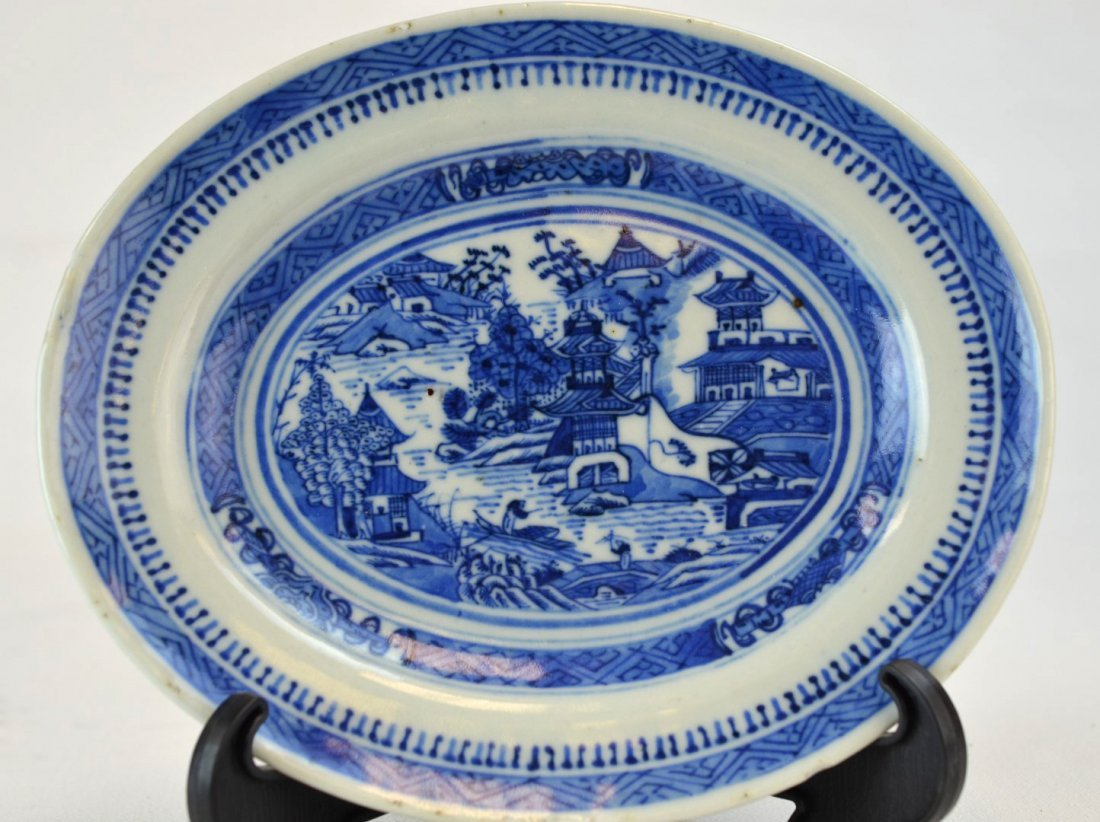 18th C Chinese porcelain blue and white plate