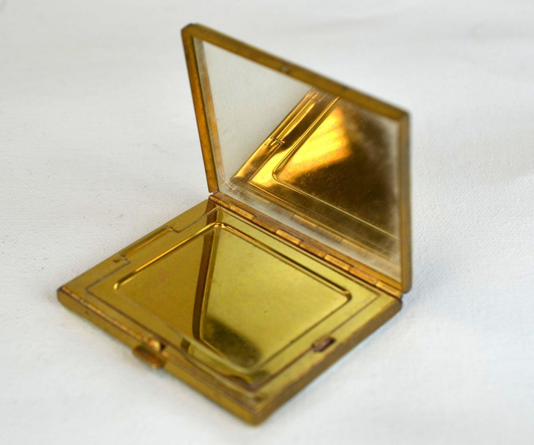 3 Vintage Mother of Pearl & Metal Makeup Compacts - 5