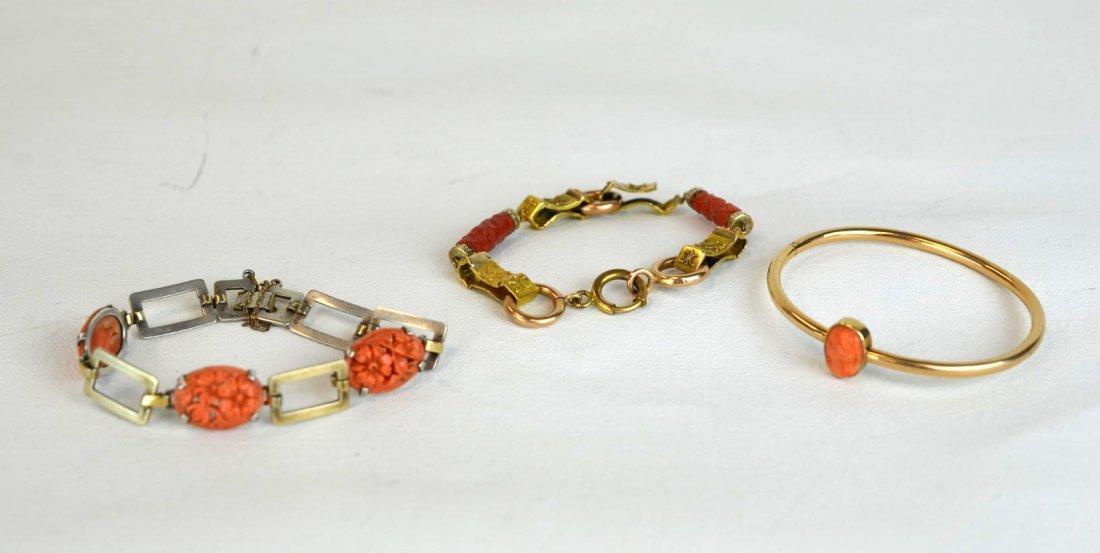 3 Vintage Coral Bracelets, 2 14K Gold & 1 Sterling