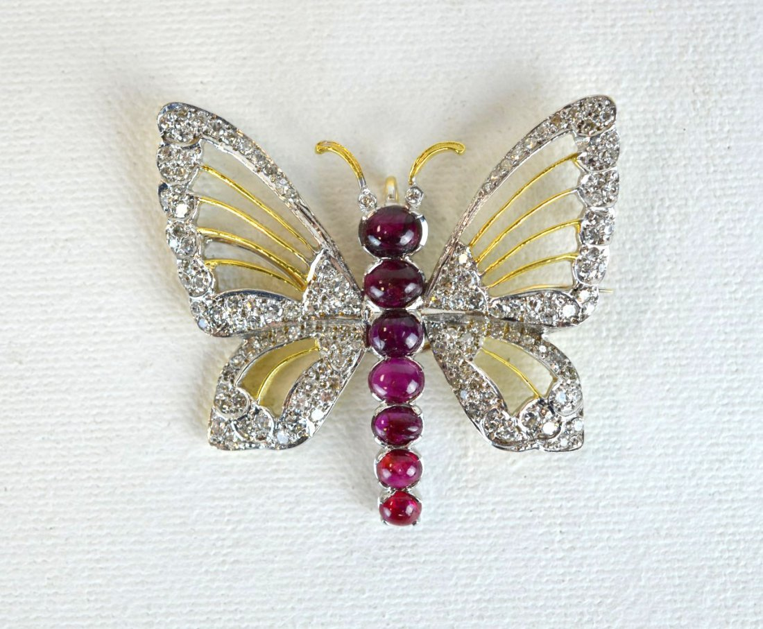 Diamond and Ruby Butterfly Pin