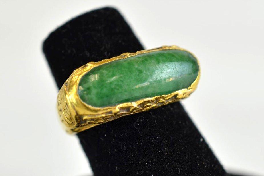 Jadeite & 24K Yellow Gold Chinese Ring