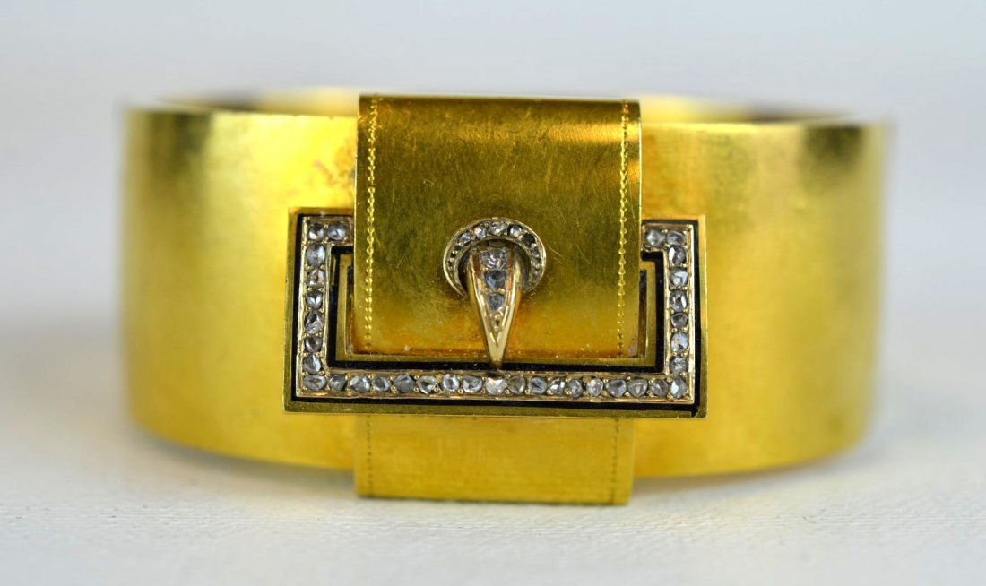 14K Yellow Gold & Diamond Cuff Bracelet
