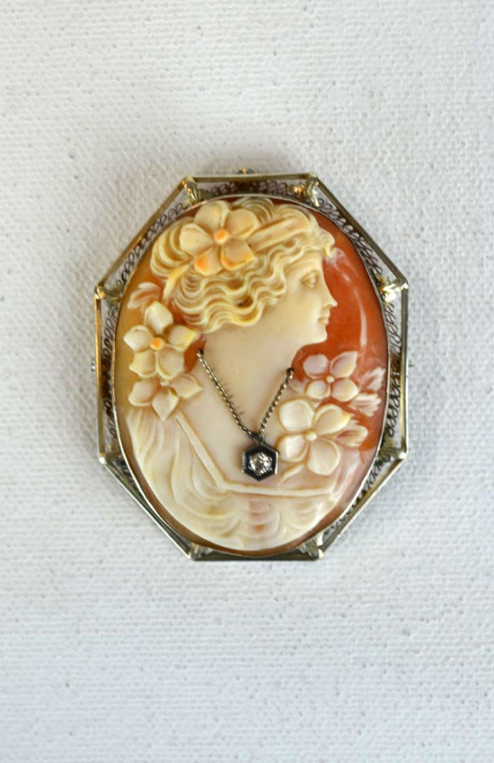 Antique Cameo Pin with Diamond in 14k Gold