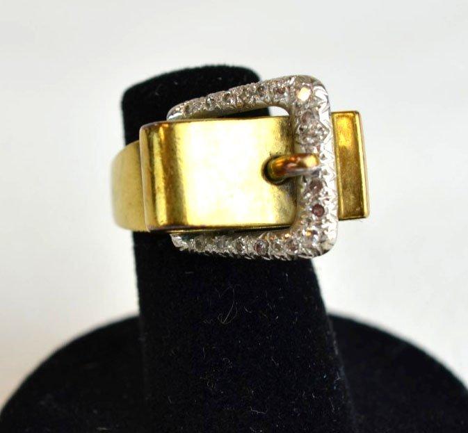 Diamond & 14K Yellow Gold Belt Buckle Ring