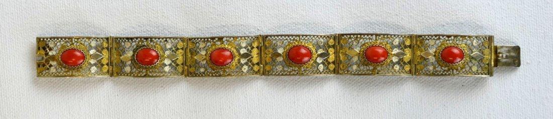 Coral & Silver Vintage Bracelet