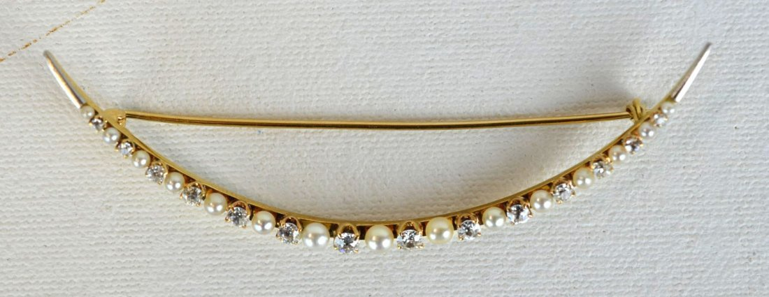 Vintage Pearl & Diamond Crescent Pin