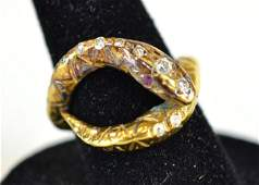 Vintage 18 K Yellow Gold Diamond  Ruby Snake Ri