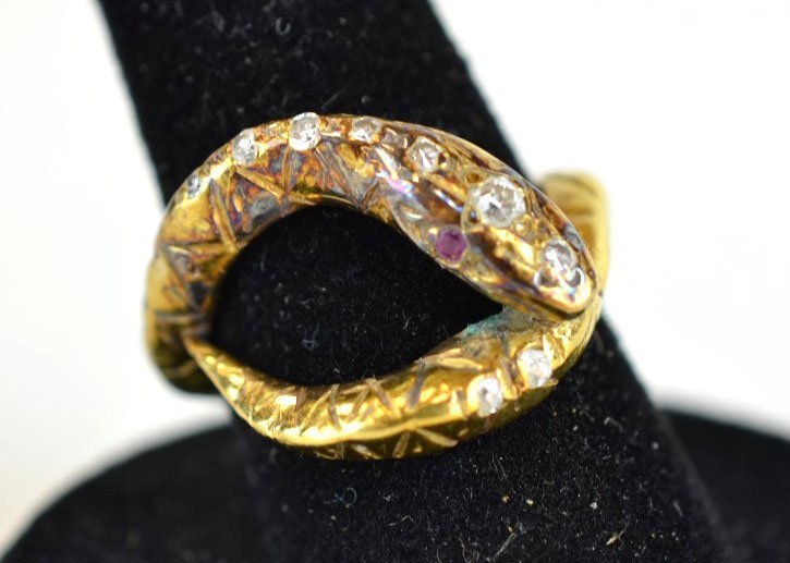 Vintage 18 K Yellow Gold, Diamond, & Ruby Snake Ri