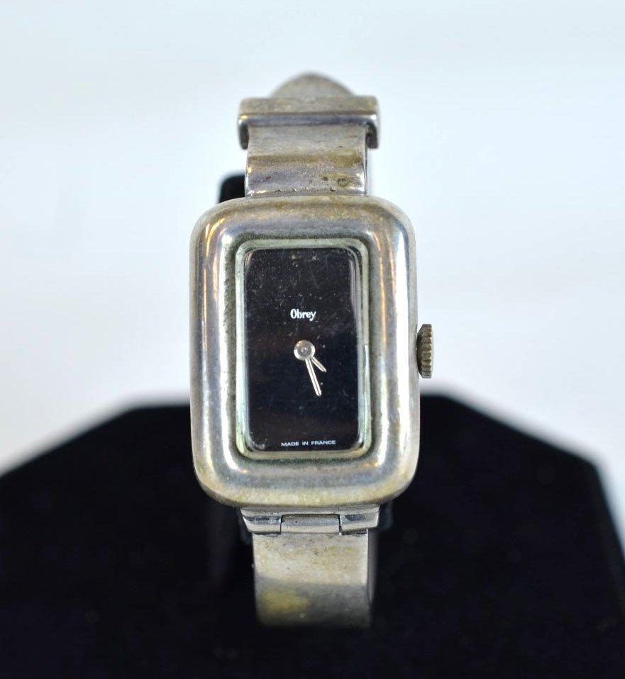 Obrey (France) Solid Silver Cuff Bracelet Watch