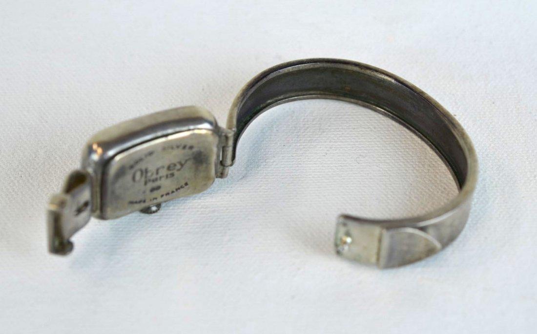 Obrey (France) Solid Silver Cuff Bracelet Watch - 2