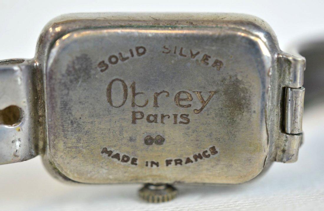 Obrey (France) Solid Silver Cuff Bracelet Watch - 3
