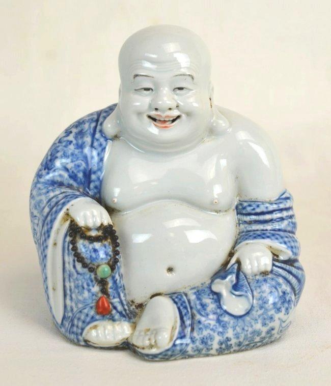 Chinese Blue & White Porcelain Laughing Buddha