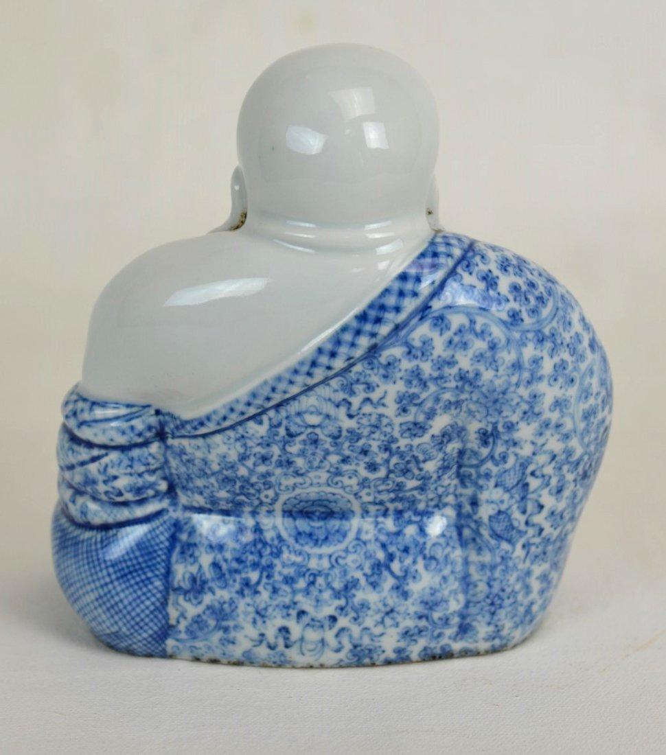 Chinese Blue & White Porcelain Laughing Buddha - 3