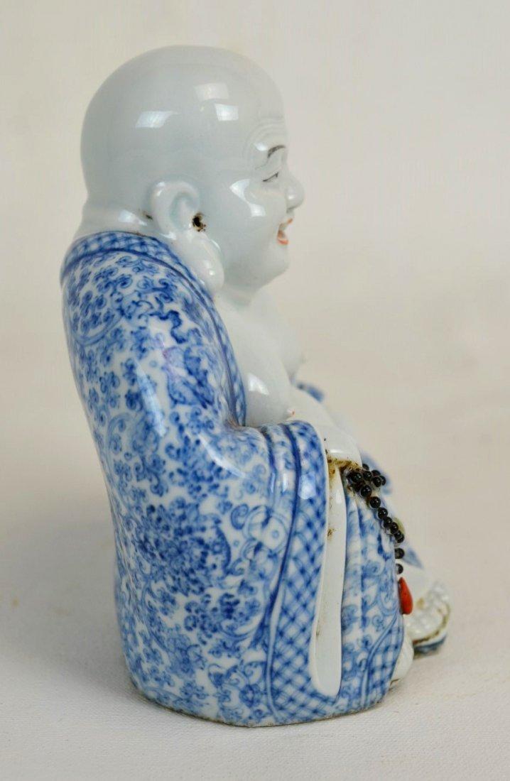 Chinese Blue & White Porcelain Laughing Buddha - 4